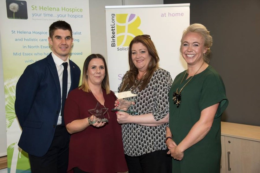 Terry Knight, Jodi, Mandy seen collecting the awards with St Helena Hospice's Corporate Development Manager, Chloé Winter