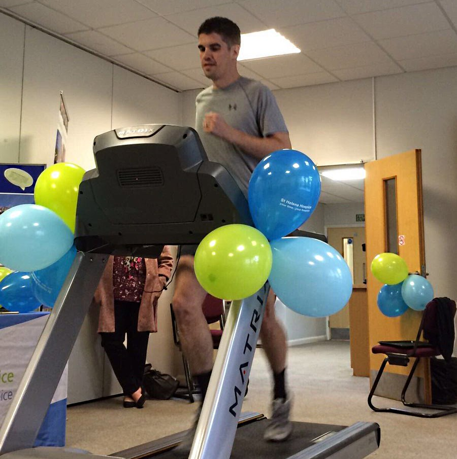 Terry Knight during his very successful 'Beat the Boss' treadmill challenge attempt